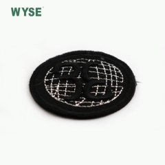 High quality black round letter woven label