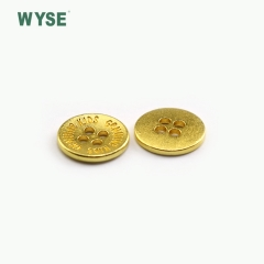 Cheap concave logo dull gold color alloy sewing four holes button