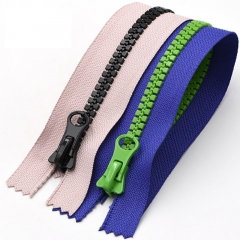 Resin zippers in solid color splicing color sport casual coat zippers wholesale resin zippers