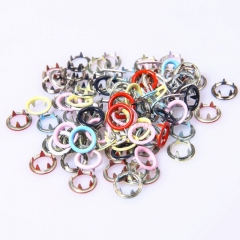 Spot color 9.5mm hollow black button baby jumpsuit clasp metal five - claw buttons wholesale prong snap