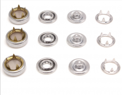 wholesale brass snap15mm+444# custom design brass engrave logo ring prong snap button for garment accessories